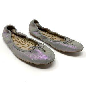 Sam Edelman Metallic Silver Lavender Ballet Flats